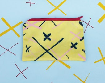 Yellow, navy and pink hand screen printed coin purse / zipper pouch with printed lining - handmade and limited edition
