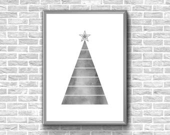 Christmas Tree Print | Watercolor Christmas Tree | Christmas Tree Poster | Christmas Printable | Christmas Tree Printable | Christmas Poster
