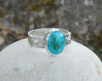 Hand made ring, 950 silver, Turquoise, cabochon 12 x 10 mm, unique ring, gift for her, anniversary