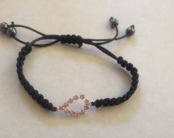 Black bracelet with symbol drop Pink Rhinestone