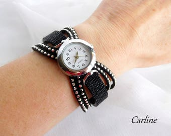 Women leather watch - Watch woman - wristwatch black woman leather - shows leather and suede rhinestone black adjustable
