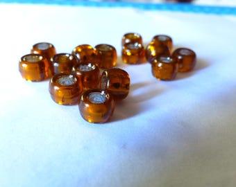 Set of 5 large transparent copper beads