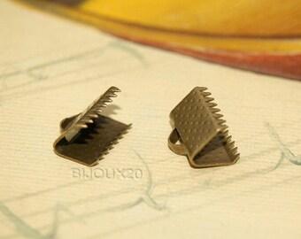 100 10mm Bronze tie clip clamp M00402 Ribbon claws