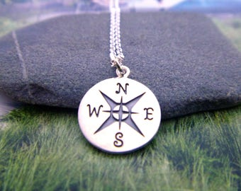 Compass Charm Necklace,  Sterling Silver Journey Pendant, Traveler Necklace, Travel Charm, Travel Pendant, Compass Pendant, Graduation Gift