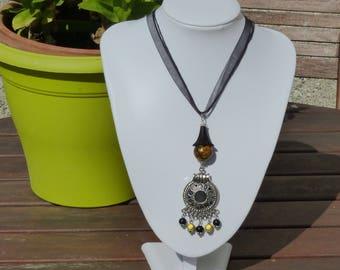 Necklace mistinguette Bohemian black and yellow, black organza Choker