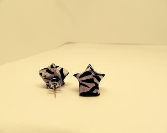 Origami lucky star zebra pattern earrings