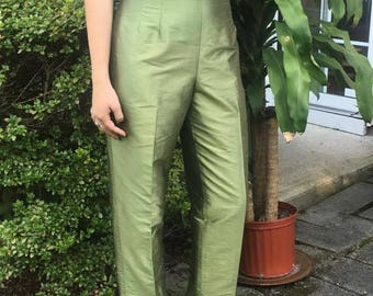 Vintage Green Silk Cigarette Pants.
