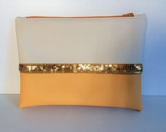 Apricot and beige two-tone leather pouch