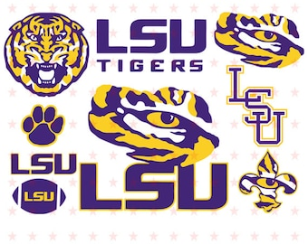 LSU svg, Lsu Tigers svg, LSU Tigers University Louisiana Logo, Clipart Decal, LSU svg File Cut, Lsu Tigers Vector, Lsu File Eps Dxf Pdf Png