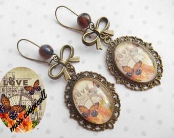 """Boucles d'oreille cabochon verre 25X18 mm vintage """"bingo love"""" papillons, orange, marron, perles, bronze"""