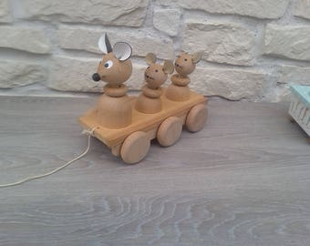 Mouse wooden pull toy