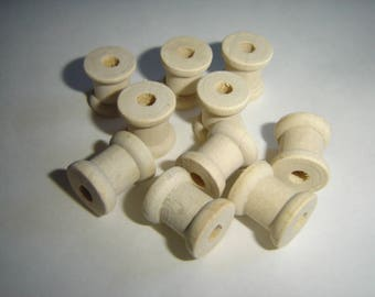 10 MINI WOOD SPOOLS