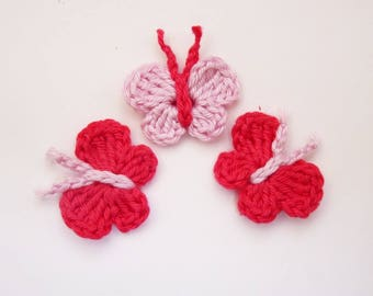 3 small butterflies, butterflies crocheted in cotton