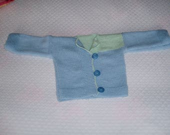 Blue and green baby jacket Cardigan hand knitted pure wool