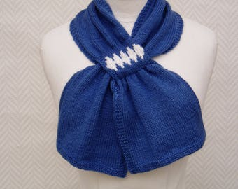 Together, hand-knitted scarf, neck + mittens €44 instead of 54 assorted blue and white