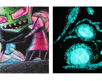 Invader Zim and GIR small card, glowing in the dark
