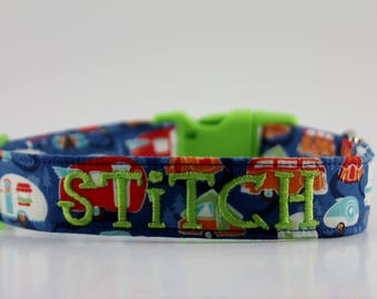 Vintage Campers Collar, Camping Personalized Dog Collar, Blue Boy Collar, Embroidered Collar, Custom Collar, Dog Collar, Personalized Collar