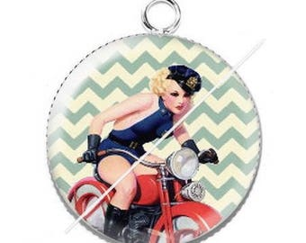 Vintage enjoy 11 pinup girl resin cabochon pendant