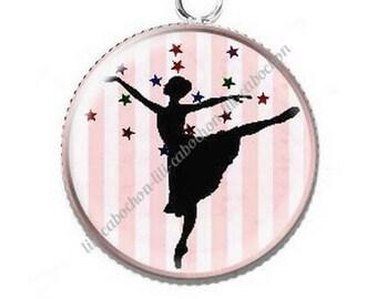 Dancer ballerina 4 resin cabochon pendant