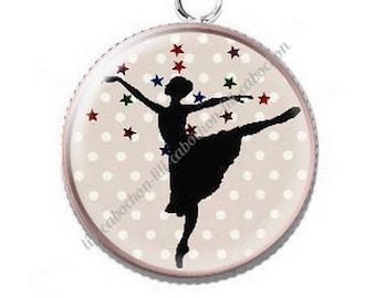 Dancer ballerina 5 resin cabochon pendant