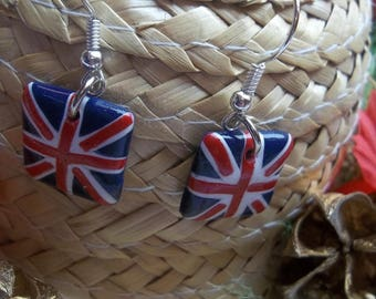 English flag polymer clay earring