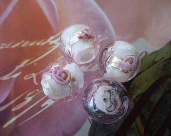 4 translucent lampwork beads with pink 18 mm