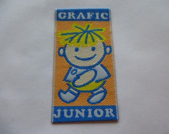 applique boy Grafic Junior back to school for customization badge patch glue or sewing accessory