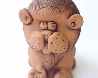 Vintage ceramic Lion cub,money bank,pottery