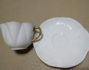 Shelley Dainty White and Gold Teacup and Saucer