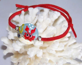 Suede and glass bead adjustable bracelet