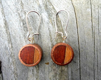 Earrings copper and wood