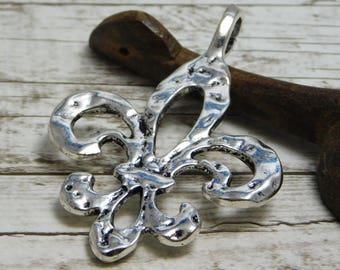 64x45mm - Fleur De Lis Pendant - Silver Pendants - Large Pendants - Boho Pendants - Metal Charms - New Orleans Pendant - (755)