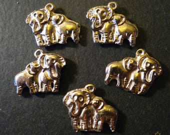 5 pendants in silver metal 18 mm elephant