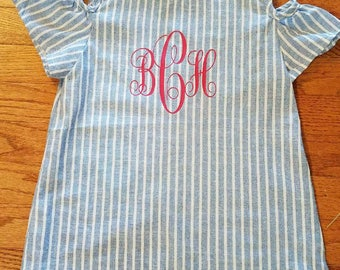 NEW Custom Made Monogram Personalized Girls Dress Fun Style Sleeve 2T 3T 4T Blue White Pink