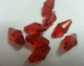 8 faceted red acrylic elongated beads