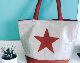 """Large tote bag """"Star"""" color camel"""