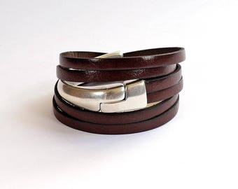 Bracelet brown leather and half silver Bangle with magnetic clasp - handmade leather bracelet