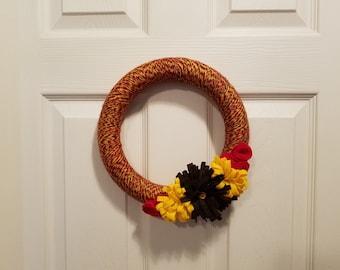 Fall Harvest color yarn wreath with felt flowers