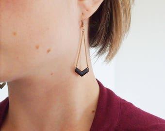 Black chevron pendant - enameled jewelry earrings