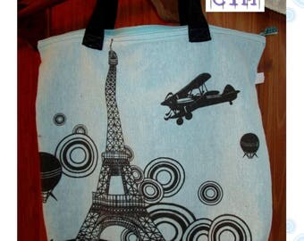 """Paris"" bag recycled from a cushion cover"