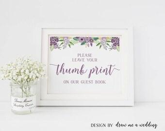 Thumb Print , Floral Wedding Sign , Finger Print Tree , Floral Thumbprint Guestbook , Printable