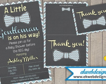 Printable Little Gentleman Baby Shower Invitation with foldable Thank You - Printable file- It's a Boy Baby Shower Invite