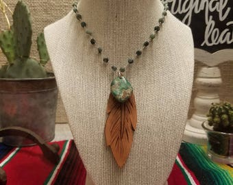 Turquoise Necklace with Tooled Leather Feather | Frosted Emerald Chain |