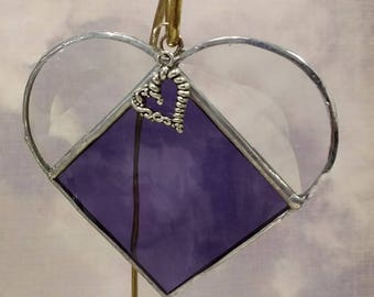 Stained Glass, FEBRUARY Birthstone, Birthstone Heart, Amethyst Heart, Purple, Heart, Stained Glass Suncatcher, Handmade in USA, Sun Catcher
