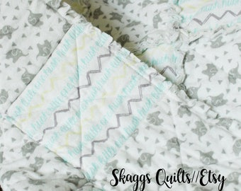 Gender Neutral Rag Quilt for Infants- Elephants, Grey, Blue, Yellow