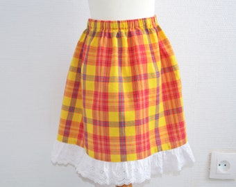 Skirt madras with embroidery anglaise 5/6 years