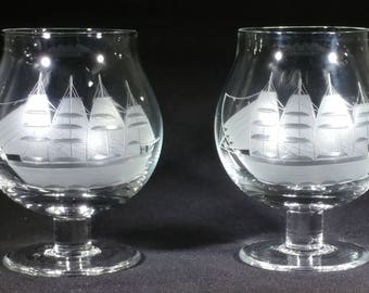 Three ship etched glass brandy snifters