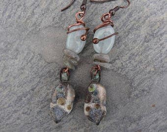 Tiny mineral rustic organic - antique glass and gems