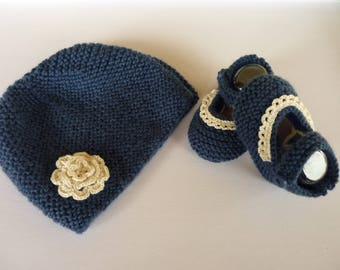 Set baby hat and booties hand knitted denim blue wool
