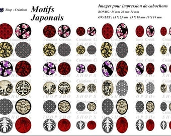 Patterns Japanese 72 images cabochons printable digital images